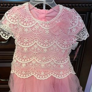 Baby girl dress white lace and pink tulle